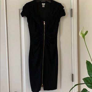 CACHÉ Bodycon black dress gold zipper